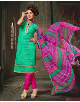Party Wear Green Chanderi Cotton Salwar Suit  - 10321