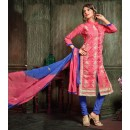 Festival Wear Pink Chanderi Cotton Salwar Suit  - 10322