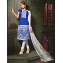 Festival Wear Blue Chanderi Cotton Salwar Suit  - 10323