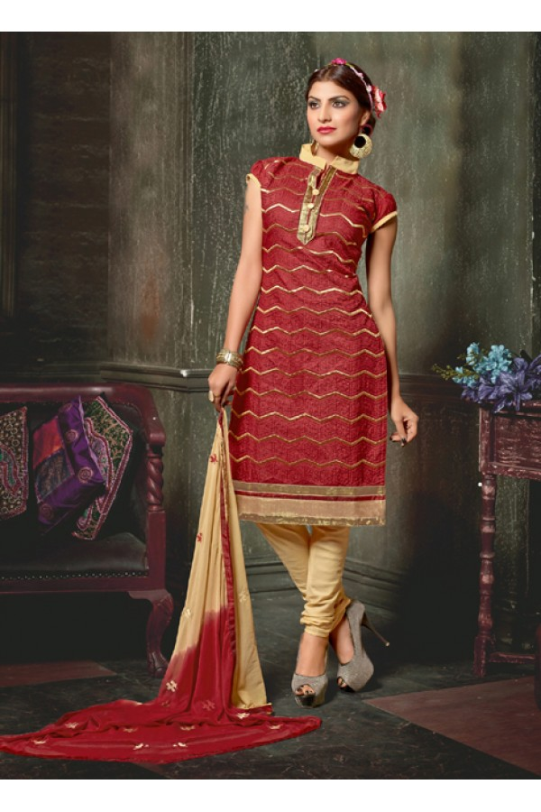 Casual Wear Maroon Chanderi Cotton Salwar Suit  - 10324