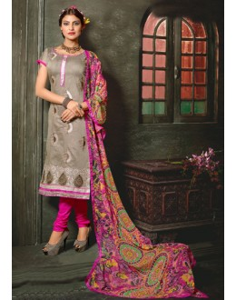 Office Wear Grey Chanderi Cotton Salwar Suit  - 10327