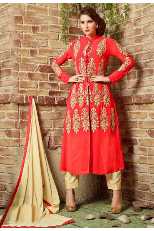 Festival Wear Red & Beige Georgette Salwar Suit  - 10538