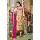 Festival Wear Cream & Rani Georgette Salwar Suit  - 10540