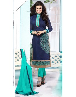 Ayesha Takia In Blue & Sea Green Chanderi Salwar Suit  - 13053