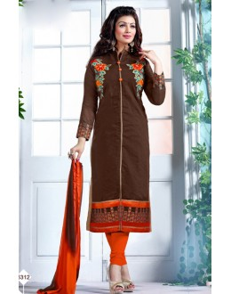 Ayesha Takia In Brown & Orange Chanderi Salwar Suit  - 13057