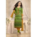Ethnic Wear Green & Yellow Chanderi Salwar Suit  - 13215