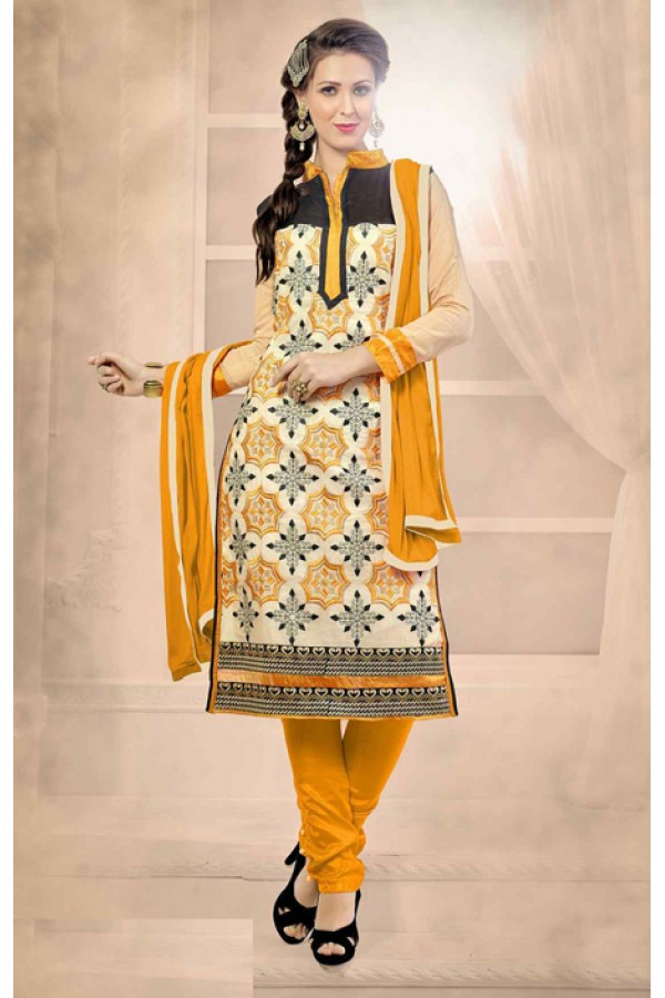 Office Wear Beige & Yellow Chanderi Salwar Suit  - 13216