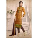 Ethnic Wear Yellow & Brown Chanderi Salwar Suit  - 13218