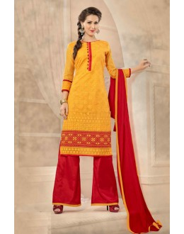 Ethnic Wear Yellow & Red Chanderi Palazzo Suit  - 13219