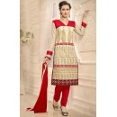 Festival Wear Cream & Red Chanderi Salwar Suit  - 13220