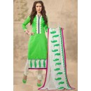 Party Wear Green & White Chanderi Salwar Suit  - 13221