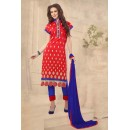 Ethnic Wear Red & Blue Chanderi Salwar Suit  - 13223
