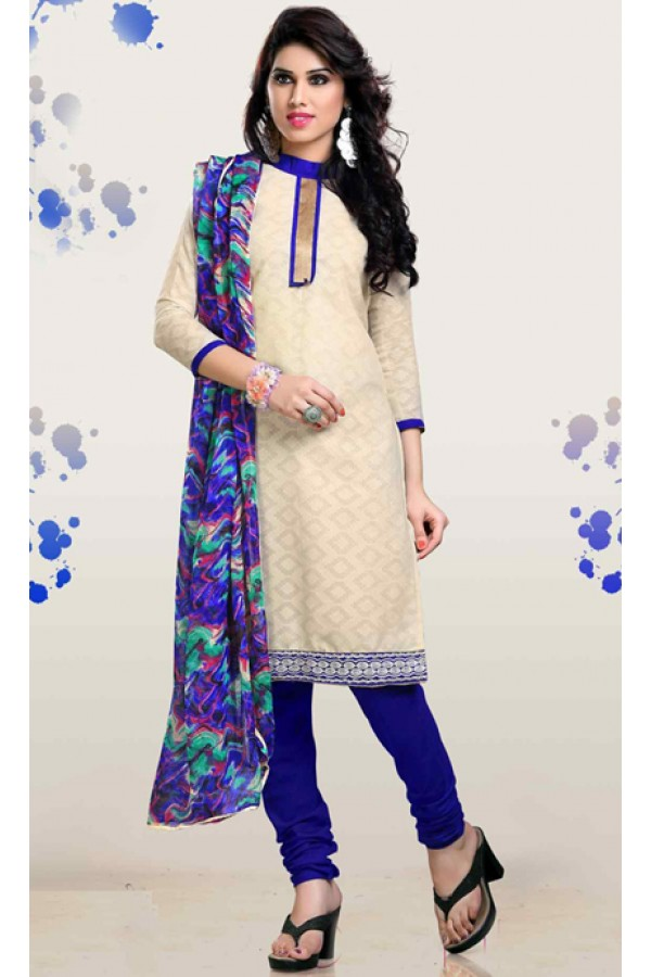 Festival Wear Cream & Blue Brasso Cotton Salwar Suit  - 13251