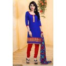 Ethnic Wear Blue & Red Brasso Cotton Salwar Suit  - 13252