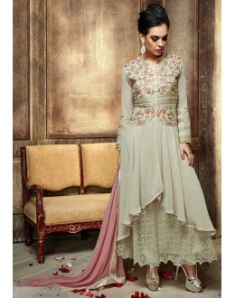 Party Wear Grey & Pink Georgette Anarkali Suit  - 13253