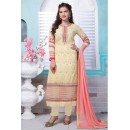 Office Wear Cream Faux Georgette Salwar Suit  - 13377