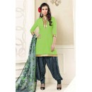 Ethnic Wear Green & Grey Poly Crepe Patiyala Suit  - 13567