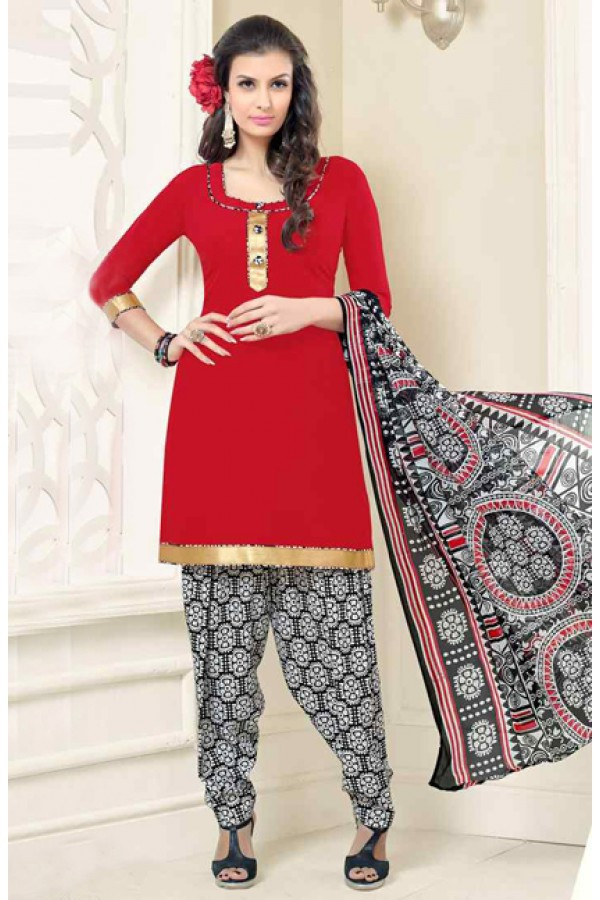 Ethnic Wear Red & Multicolour Poly Crepe Patiyala Suit  - 13571