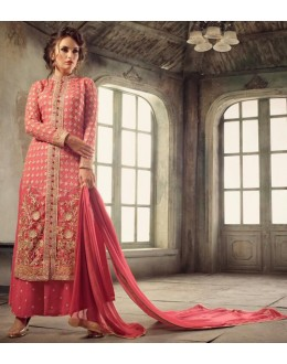Party Wear Pink Georgette Palazzo Suit  - 13662