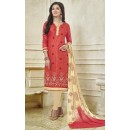 Office Wear Red & Beige Bhagalpuri Cotton Salwar Suit  - 13731