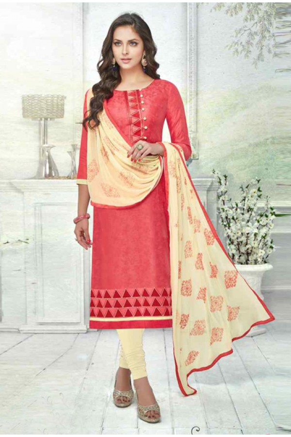 Office Wear Peach Brasso Cotton Salwar Suit  - 13735