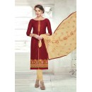 Ethnic Wear Maroon Brasso Cotton Salwar Suit  - 13736