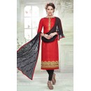 Ethnic Wear Red & Black Brasso Cotton Salwar Suit  - 13741