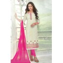 Festival Wear White Brasso Cotton Salwar Suit  - 13743