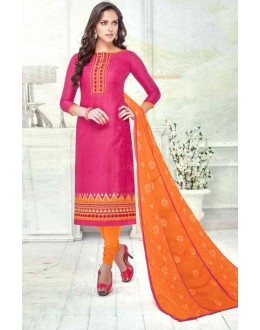 Ethnic Wear Pink Brasso Cotton Salwar Suit  - 13744