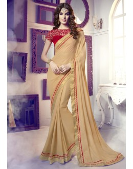 Party Wear Beige & Red Dotted Smoked Saree  -  13858