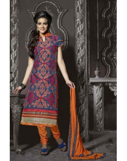 Ethnic Wear Navy Blue Chanderi Salwar Suit  - 13868