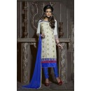Office Wear Off White & Blue Chanderi Salwar Suit  - 13869
