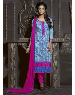 Festival Wear Sky Blue Chanderi Salwar Suit  - 13870