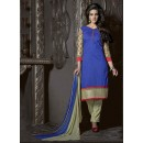 Ethnic Wear Blue & Cream Chanderi Salwar Suit  - 13873
