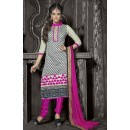 Festival Wear Cream & Pink Chanderi Salwar Suit  - 13874