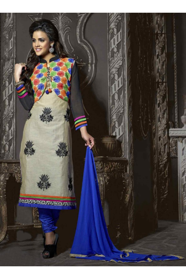 Festival Wear Off White & Blue Chanderi Salwar Suit  - 13876