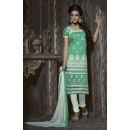 Ethnic Wear Green & White Chanderi Salwar Suit  - 13877