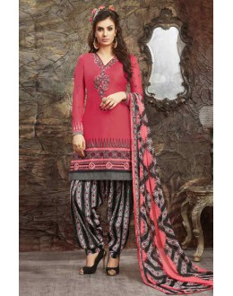 Festival Wear Pink Glace Cotton Patiyala Suit  - 13881