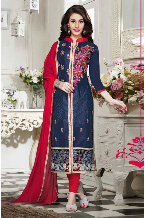 Festival Wear Blue & Red Cotton Salwar Suit  - 13922