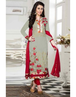 Party Wear Grey & Red Cotton Salwar Suit  - 13923