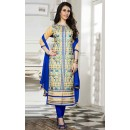 Ethnic Wear Beige & Blue Cotton Salwar Suit  - 13924