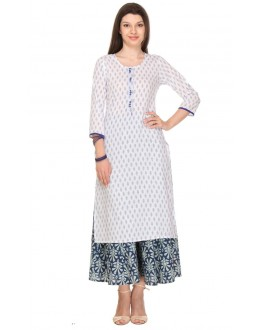 Casual Wear Readymade White Rayon Kurti - 13998