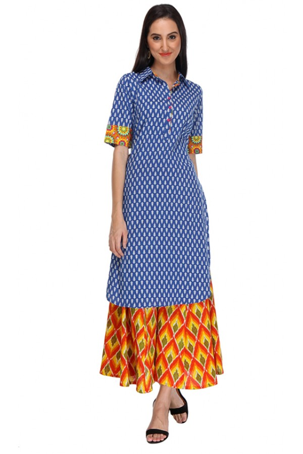 Casual Wear Readymade Blue Rayon Kurti - 14001
