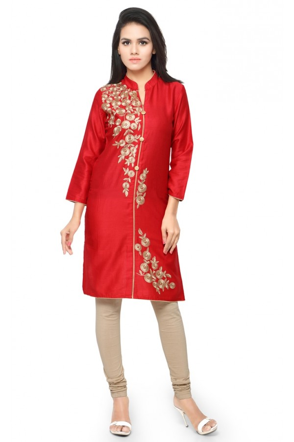 Festival Wear Readymade Red Glace Cotton Kurti - 14024