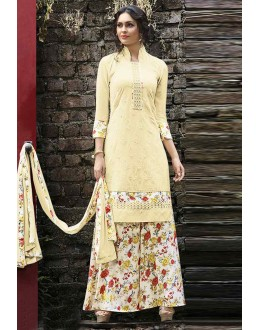 Office Wear Beige & White Palazzo Suit  - 14879