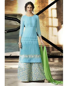 Ethnic Wear Blue & White Palazzo Suit  - 14880
