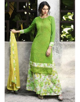 Festival Wear Green & White Palazzo Suit  - 14886