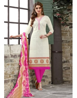 Office Wear White Chanderi Salwar Suit - 15045