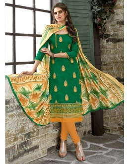 Un-Stitched Green Chanderi Salwar Suit - 15049