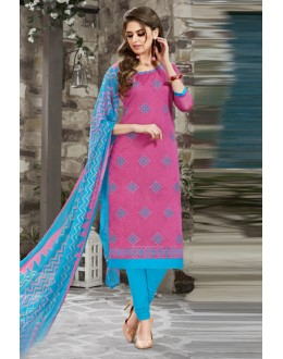 Chanderi Pink Embroidery Salwar Suit - 15050